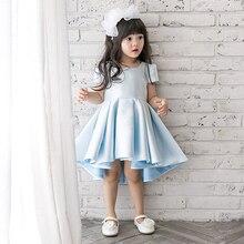ДЕТСКИЕ WOW новорожденных девочек платья одежда девушки цветка платья Нерегулярные голубой для день рождения свадьба партии 90218
