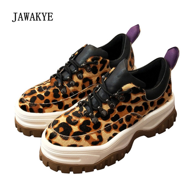 2018 Leopard Horse Hair Platform Sneakers Women Round Toe Rivet Lace-up  Thick Bottom Suede 3dbb448fae92