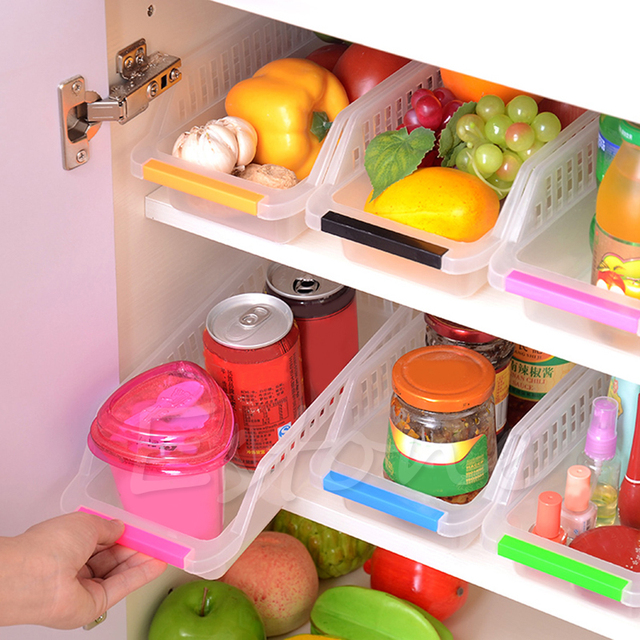 Plastic Storage Collecting Box Basket Kitchen Refrigerator Fruit Organiser Rack Utility Food Containers