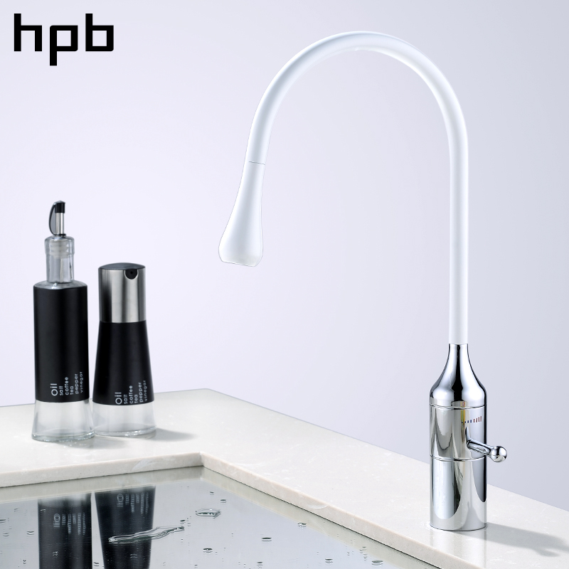 HPB Brass Chrome Rotatable Kitchen Water Tap Single Handle Sink Mixer Hot And Cold Faucet White Color Contemporary Style IFD004