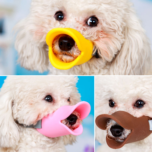 Muzzle Silicone Cute Duck Mouth Mask Bark Bite Stop Small Anti-Bite Products Pets Accessories For Dog