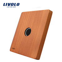 Livolo Luxury Cherry Wood Glass 80mm 80mm EU Standard Single Panel For 1 Gang Wall Touch