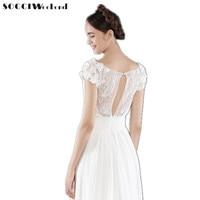 SOCCI Weekend Beach Wedding Dress 2017 Women Elegant Chiffon Lace Flowers Beading Bridal Dresses China Vestidos