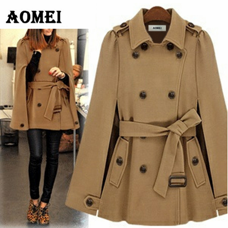 Зимнее женское пальто, модное пальто с двойными пуговицами, с поясом на талии, осенняя женская верхняя одежда темно-синего цвета, Manteau Femme, осенняя одежда - Цвет: CAMEL