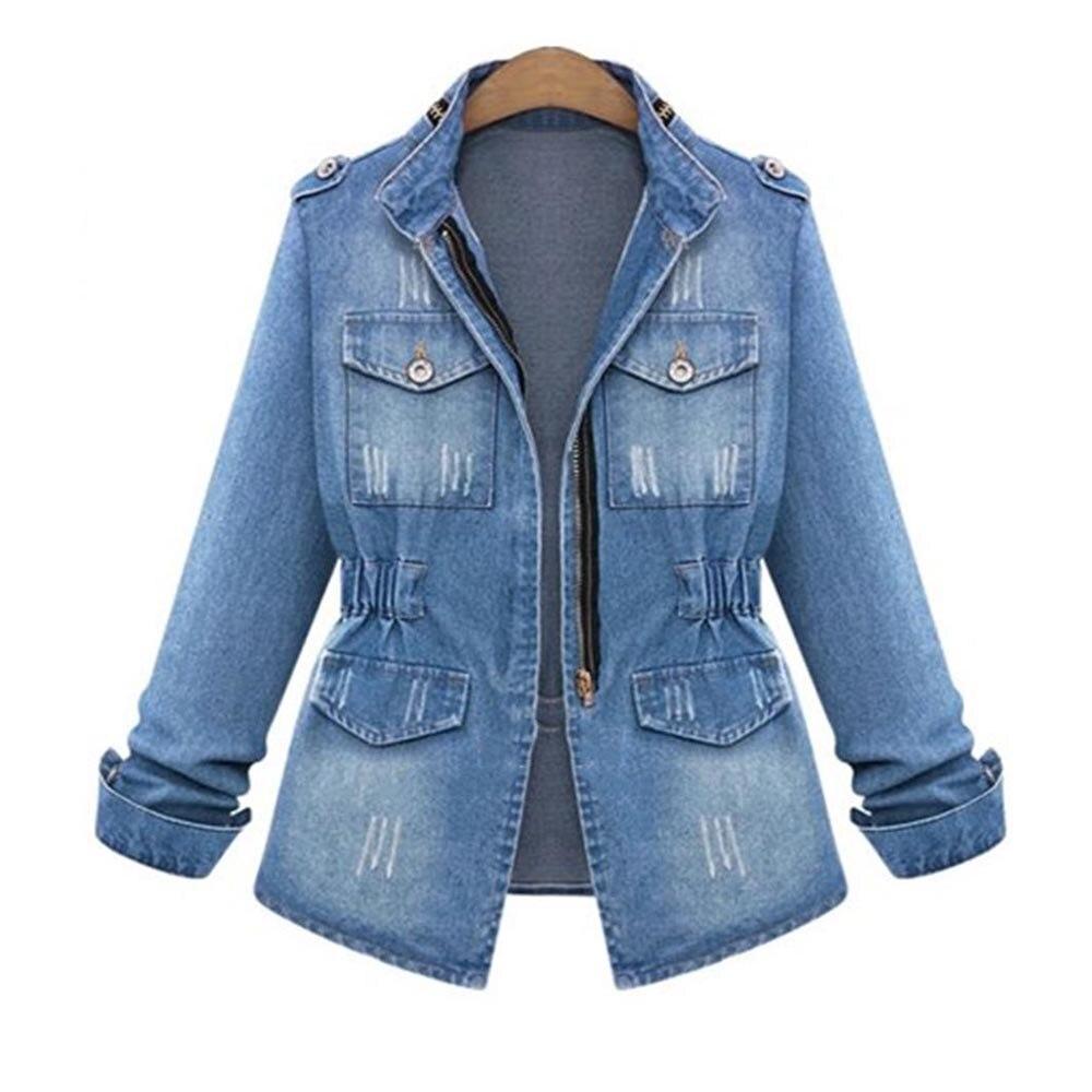 Comprar Talla grande 2018 denim S 5XL chaqueta mujer cuello alto cintura  ajustada azul invierno cremallera moda bolsillos sobre tamaño abrigos y  chaquetas ... 321a763d9509