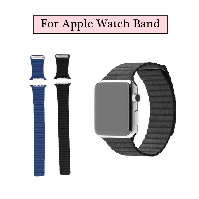 Leather Loop Strap Bracelet Stainless Steel Band Magnet for Watch Apple / Sport Edition 42mm 38mm Watchband