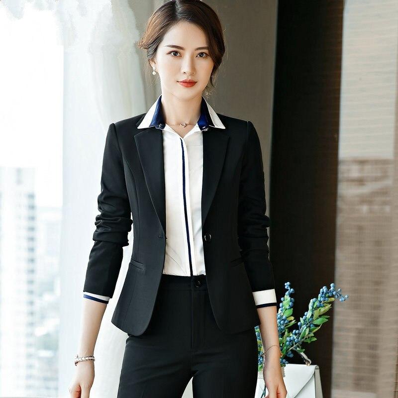 Elegant Office Lady Business Suits For Women 2 Two Piece Sets Female Blazer Jacket & Straight Pants Skirt Plus Size Suit Women