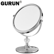 GURUN Desktop Makeup Mirror Stand For Makeup Magnifying 3X Table Mirrors  Round Double Sided Mirror 7inch Silver Vanity Metal