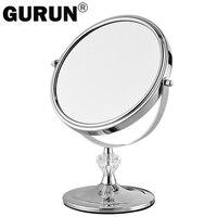 GURUN specchio per il trucco desktop stand per il trucco ingrandimento 3X tavolo specchi rotondi double sided specchio da 7 pollici Argento vanità metallo