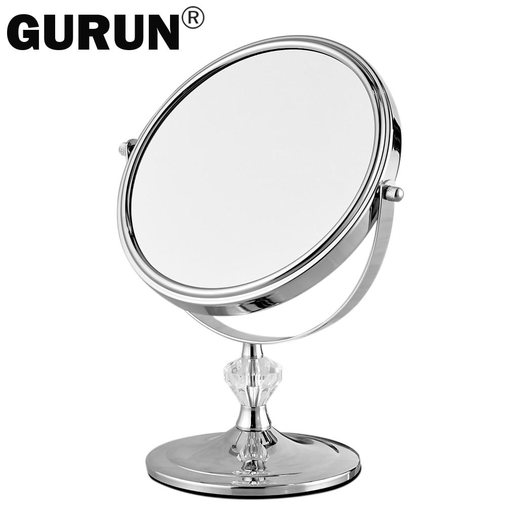 Gurun maquillaje escritorio espejo para maquillaje de aumento 3X espejos de mesa redondo doble cara espejo 7 pulgadas plata vanidad metal