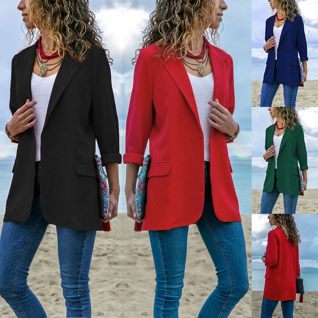 8f74265bd6 Liva girl 2018 Women Autumn suit Long Sleeve casual Solid Color Open Front  Coat 8.30