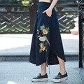 2017 Мода Марка Женщины Белье Хлопок Длинные Юбки Упругой Высокой Талией Макси Вышивка Юбки Boho Vintage Летние Юбки