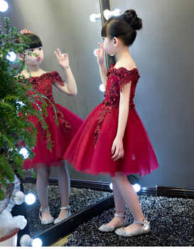 New Shoulderless Flower Girls Dresses For Wedding Appliques Formal Girl Birthday Party Dress Red Lace Princess Ball Gown