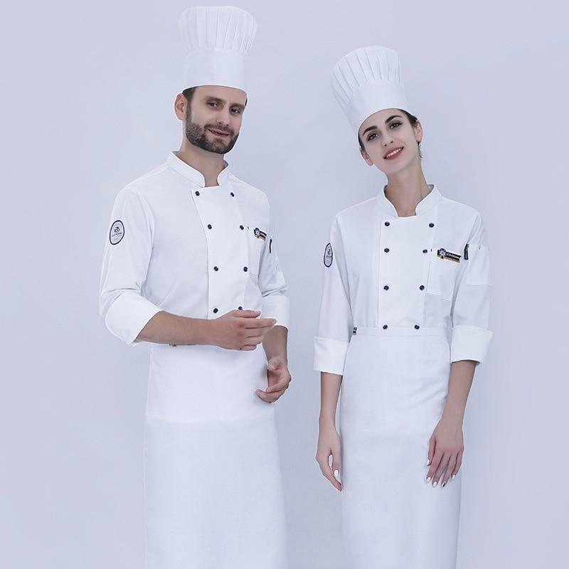 Chef's Uniform Long Sleeve Restaurant Kitchen Women Men Work Uniform Western Restaurant Staff Plus Size Overalls Clothing H2048