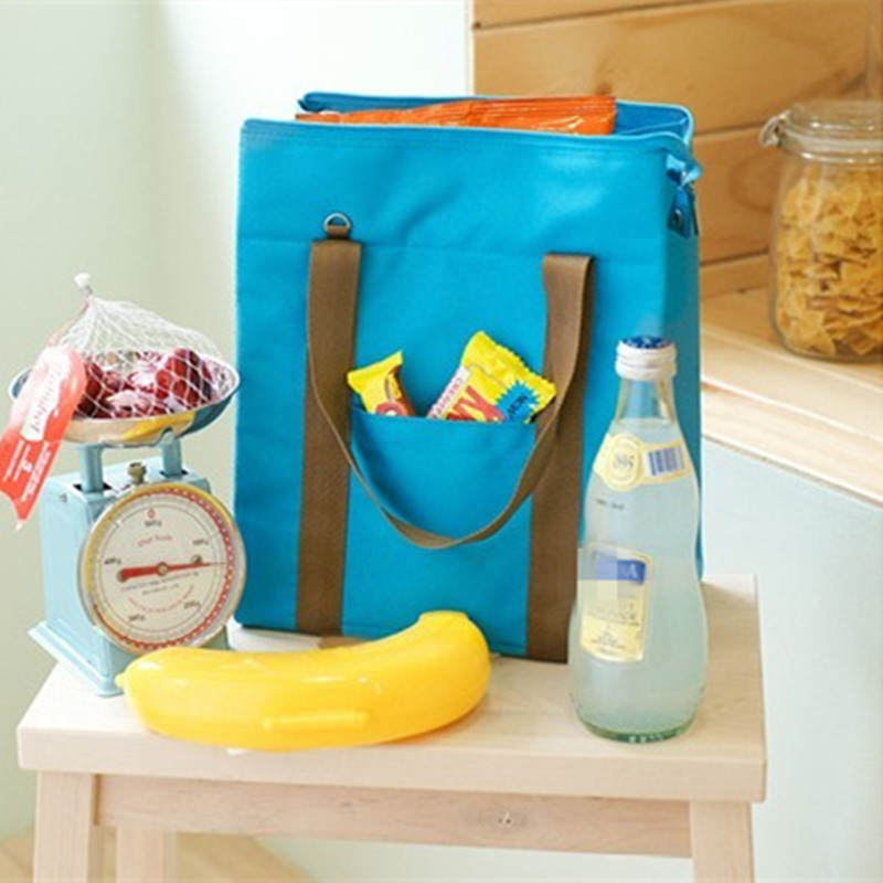 Casual Thermal Insulated Cooler Travel Tote Blue Waterproof Bento Pouch Lunch Bag Container Picnic Bag Shoulder Bag Crossbody
