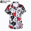 Homens Floral Vermelho Camisa de Manga Curta Moda Verão Mens Camisas Havaianas Algodão Tamanhos Grandes DT515 M-7XL