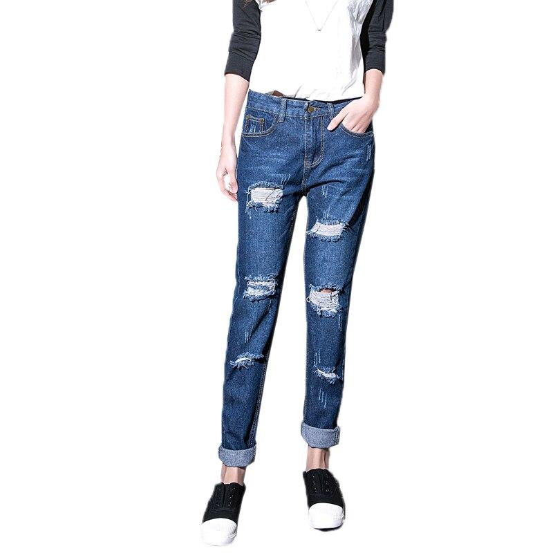 Plus size S 5XL Fashion Rippd Boyfriend jeans for Women Hole Harem Denim Jeans Pants Loose ...