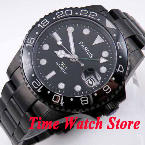 Parnis watch 40mm black dial green GMT hand luminous hands sapphire glass PVD case Automatic movement Men's watch 200 цена и фото