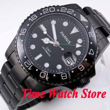 Parnis watch 40mm black dial green GMT hand luminous hands sapphire glass PVD case Automatic movement Men's watch 200