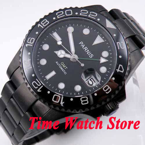 26117b94d1d Parnis watch 40mm black dial green GMT hand luminous hands sapphire glass  PVD case Automatic movement Men s watch 200