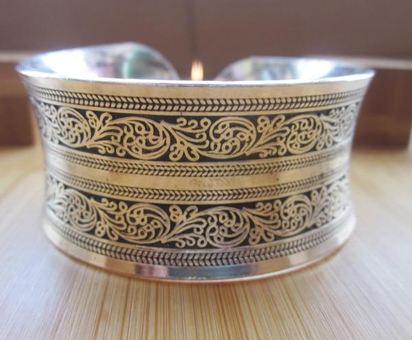 BR098 European Concave Metal Tibetan Silver Color vintage retro Bangle Cuff Bracelet Valentine's Day Gift for her Cuff