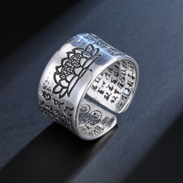 Open Rings for Women Lover Anniversary Gifts High Quality Silver Color Jewelry Buddhistic Sutra