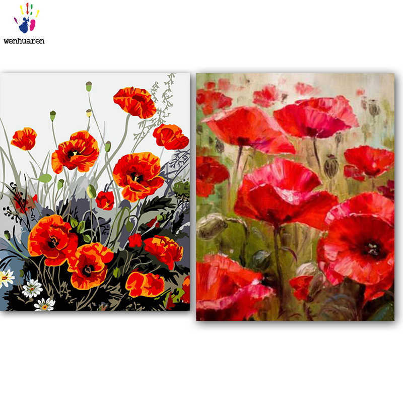DIY colorings pictures by numbers with colors Beautiful wild flowers picture drawing painting by numbers framed Home