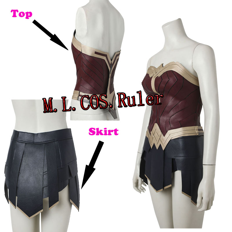 Custom Made  Wonder Woman From Justice League Wonder Woman Cosplay Costume Only Top+Skirt Free Shipping