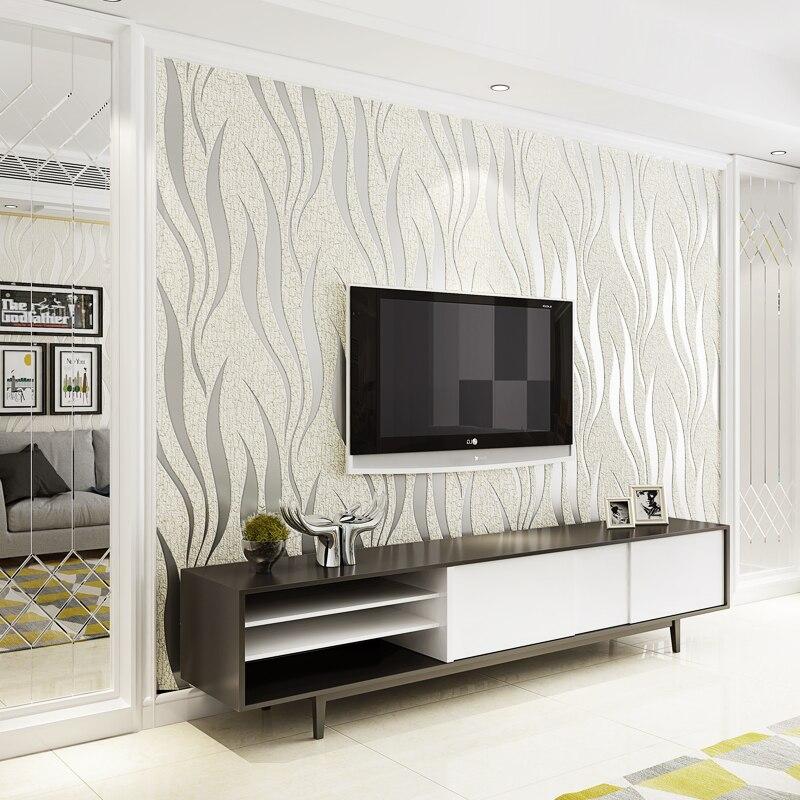 Papier peint flocage Non tissé moderne Simple rayure vague mode papier peint salon TV canapé chambre décor à la maison Papel De Parede