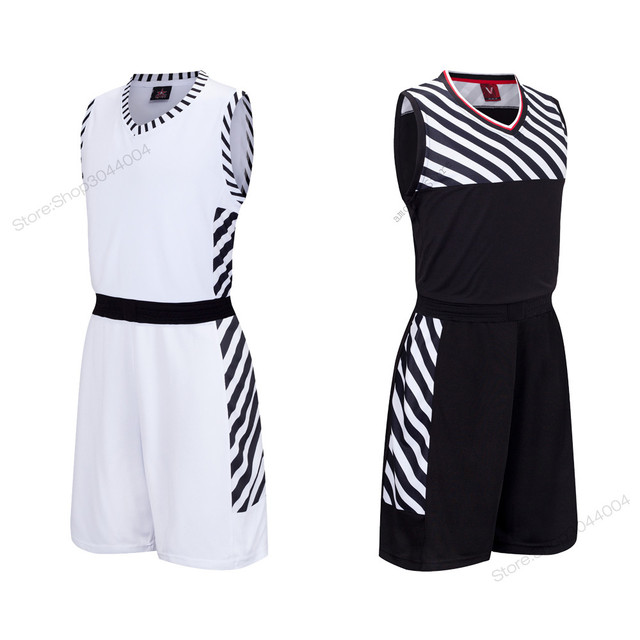 0e8392ae9f17 Adsmoney Polyester Black White Stripe Men Basketball Jersey Set Quick Dry  Sport Suit Training Team Jersey