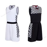 Adsmoney Polyester Black White Stripe Men Basketball Jersey Set Quick Dry Sport Suit Training Team Jersey