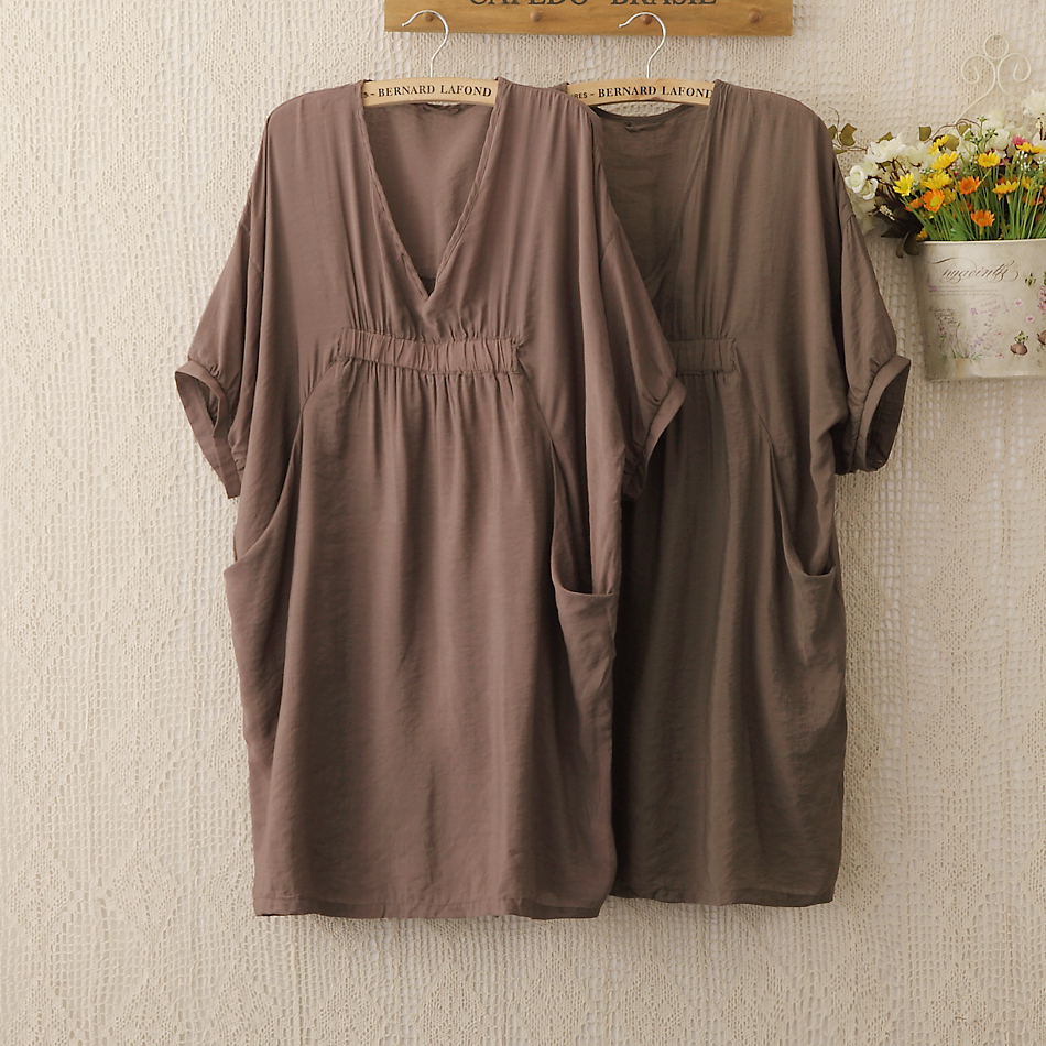 1128 Women clothing Vintage Chic Plus size Blusas Femininas Loose Pleated V neck Short Sleeve Blouse Womens Blouse Patterns