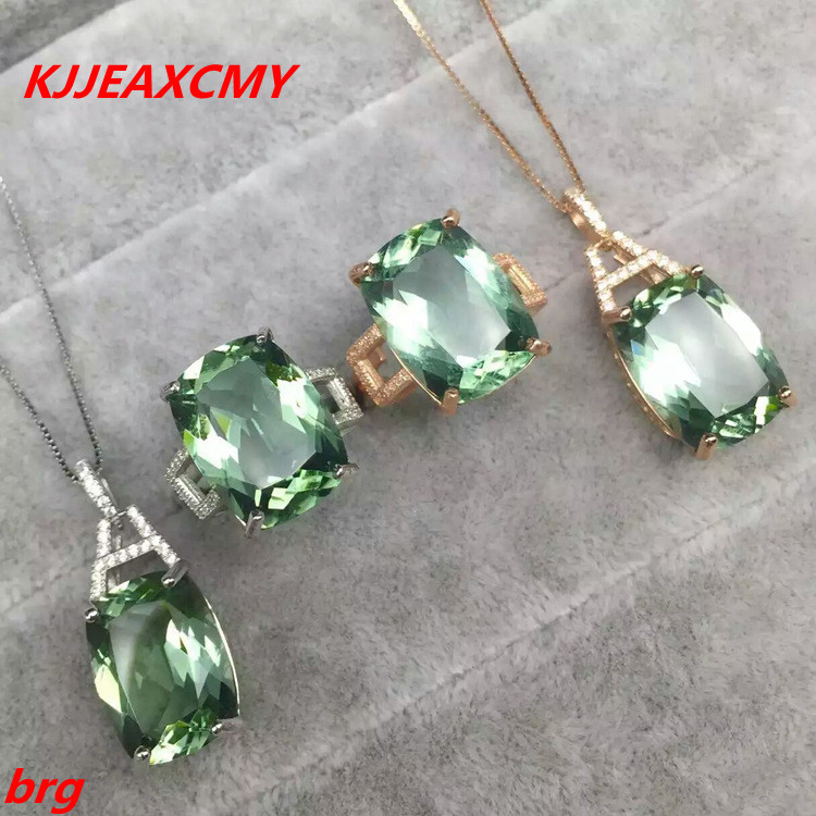KJJEAXCMY Fine jewelry 925 sterling silver plated white gold ring +pendant deep amethyst necklace set ladies two-piece suit stylish ladies pendant silver plated necklace