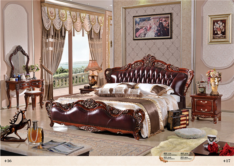 royal bedroom furniture solid wooden genuine leather bed luxury ...