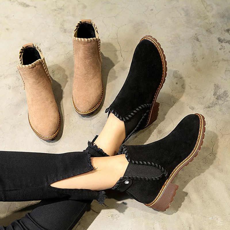 MCCKLE Kadın Kış Rahat Platform yarım çizmeler Kadın Süet Kayma Elastik Bant Dikiş kısa çizmeler Bayanlar Moda Ayakkabılar