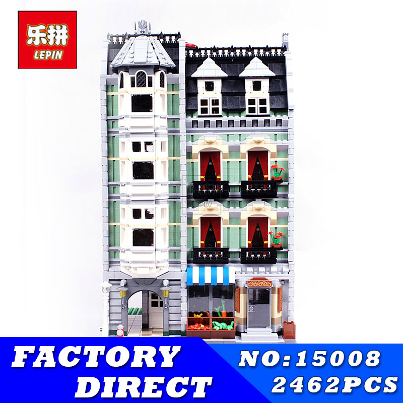 LEPIN 15008 City Street Series Creator Green Grocer Model Educational Building Blocks Bricks Kits Toys for Children Gifts lepin 15018 3196pcs creator city series sunshine hotel model building kits brick toy compatible christmas gifts