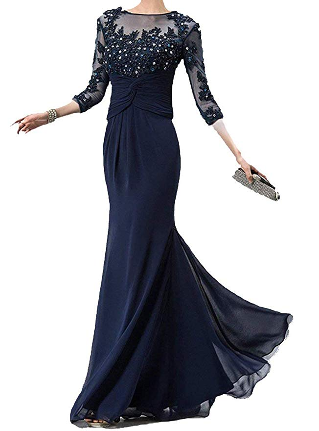 Women's Beaded Lace Appliques Mother Of The Bride Dresses Sheer-Neck 3/4 Sleeve Mother Formal Dress Vestido Madrina