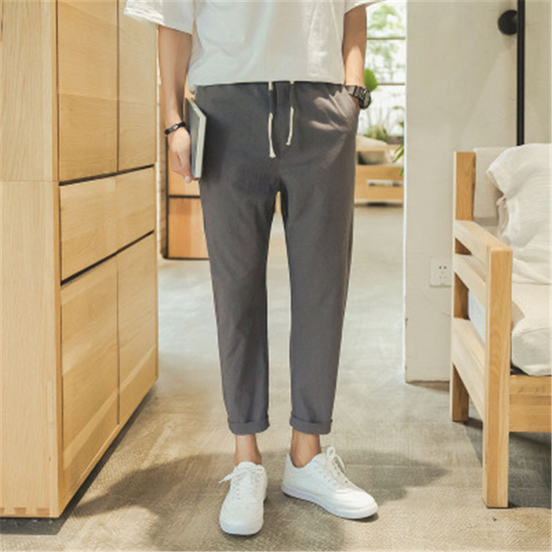 2018 pantalones ocasionales de los hombres de verano recortada pantalones salvaje algodón 2D15