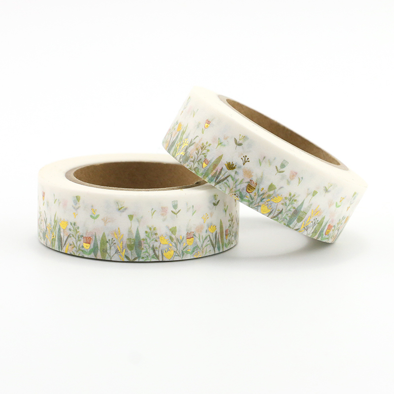 1PCS Colorful Foil Plants & Floral Washi Tape DIY Decoration Scrapbooking Planner Masking Tape Kawaii Stationery Adhesive Tape