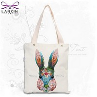 2 Color Canvas Shopping Bag Foldable Reusable Grocery Bags Cotton Fabirc Eco Tote Bag Wholesale