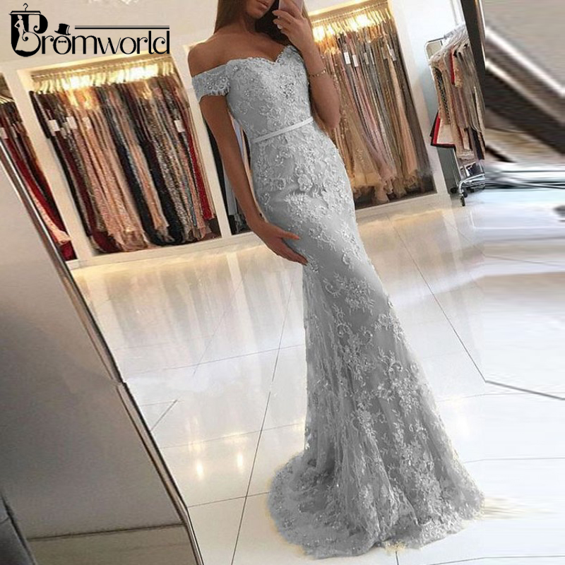 Champagne 2019 Prom Dresses Mermaid Off Shoulder Appliques Lace Party Maxys Long Prom Gown Evening Dresses Robe De Soiree