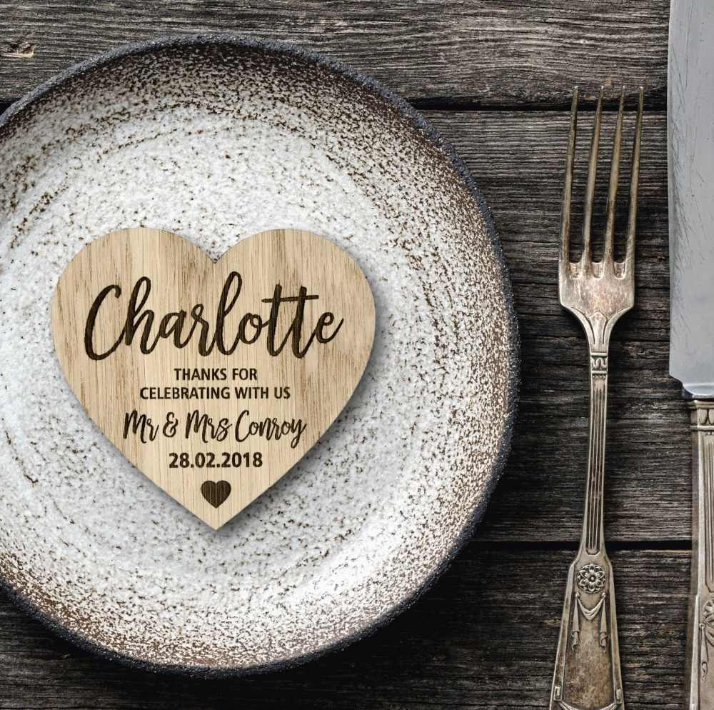 Simple place cards with heart Wood wedding tags Custom wedding place cards