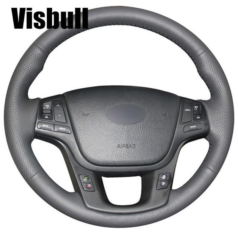 2014 Kia Cadenza Interior: Visbull Black PU Leather Car Steering Wheel Cover V1092