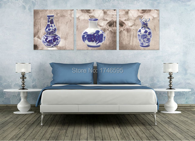 big 3pcs modern home decoration blue white porcelain wall art