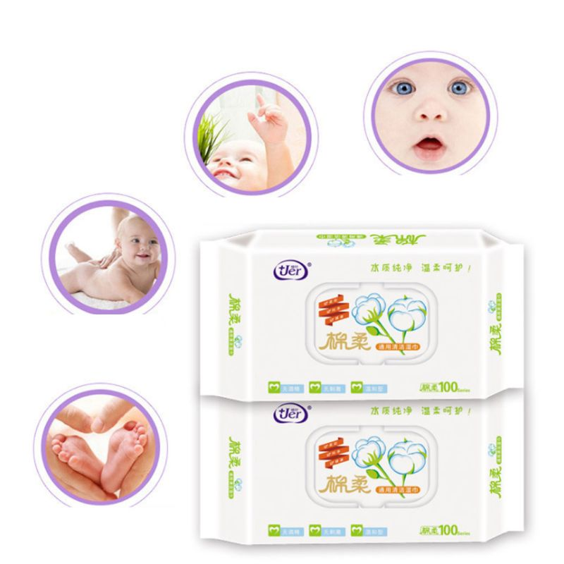 60Pcs/Bag Flip Top Lid Cover Wet Wipes Newborn Baby Hand Mouth Non-Woven Disposable No-Alcohol Cleaning Tissue Towel Portable