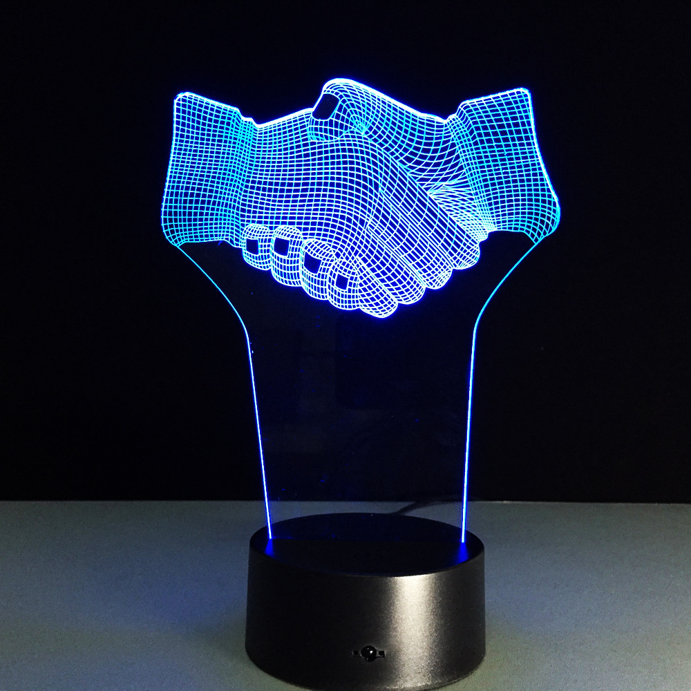 7 Color Shake Hands Office Desk Decor Atmosphere 3d Illusion Lamp For Friend Gift 3D Night Light Remote Touch sensor light