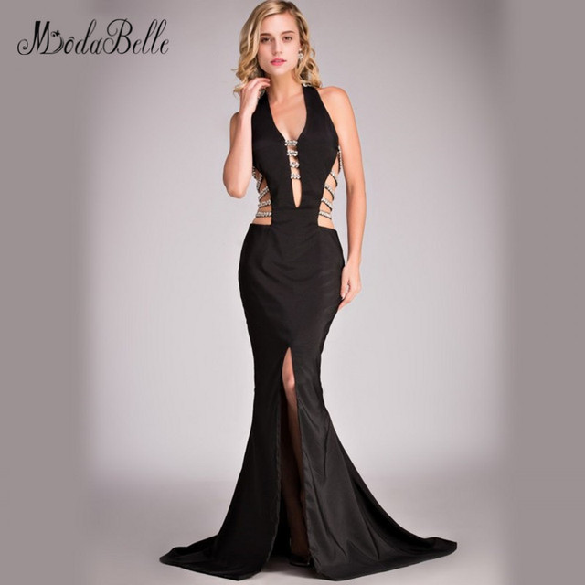 modabelle 2017 Sparkly Mermaid Black Prom Dress Sexy Halter Backless Long  Maxi Dress Diamonds Crystal Formal Evening Gowns Split 03f3e3cd25f8
