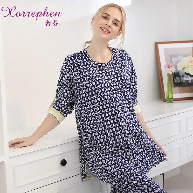 Printed Cotton 2 Pieces Maternity Clothes Maternity Sleepwear Breastfeeding Sleepwear Nursing Pajamas Pregnant Women Pajamas