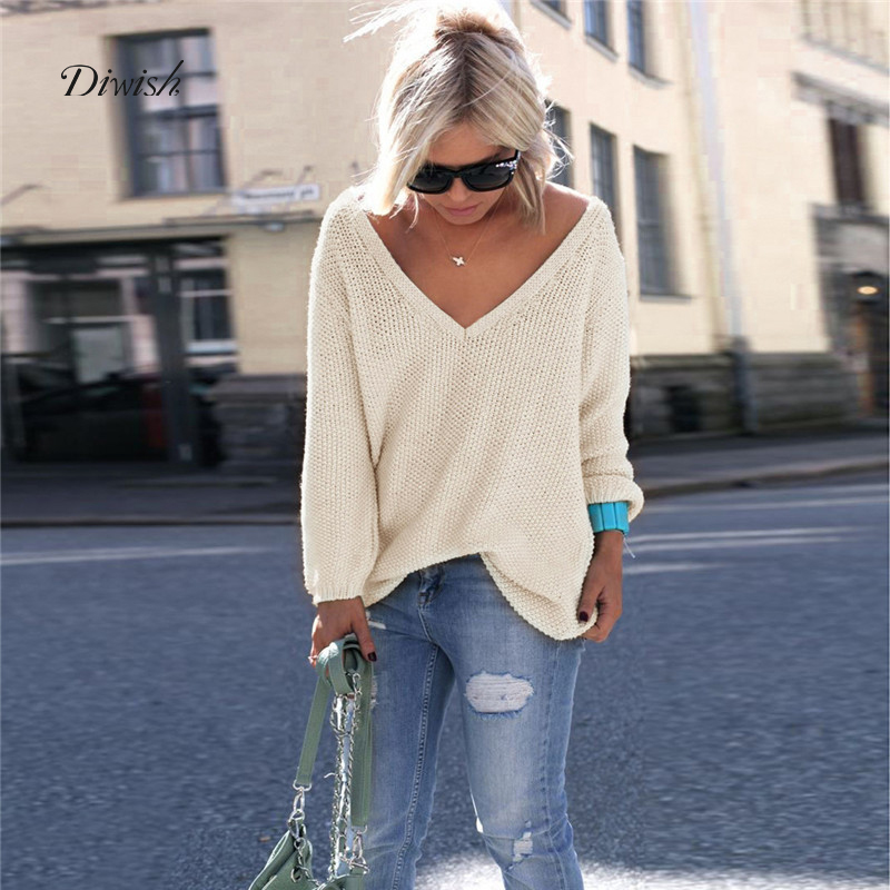 Diwish Loose Pullovers Sweater Tops V-Neck Ladies Knitwear Autumn Sexy Fashion Women's