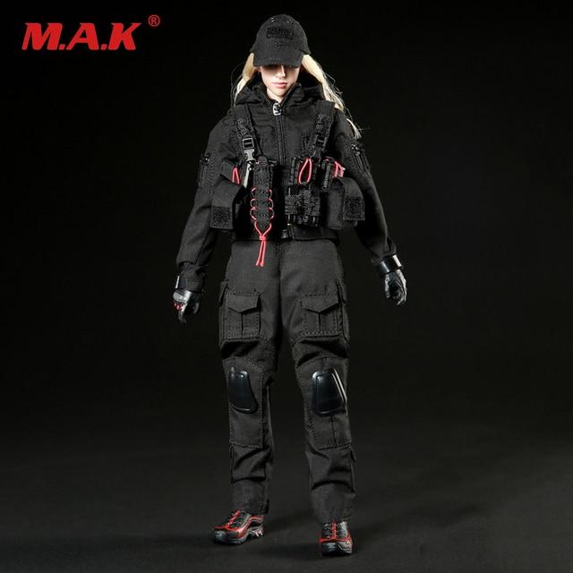 5e237356 1/6 Mujer Traje de Combate Negro Oscuro Artilleros y Zapatos Set Para 12